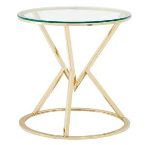 Alluras Glass Corseted Round End Table In Champagne
