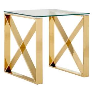 Alluras Glass End Table In Champagne Gold
