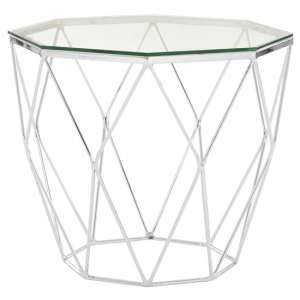 Alluras Glass End Table In Chrome Base