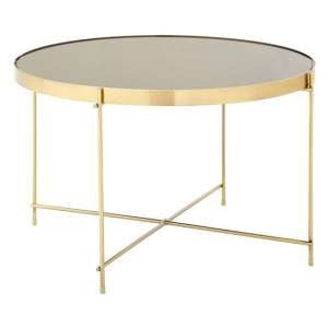 Alluras Large Side Table In Bronze With Black Mirrored Top