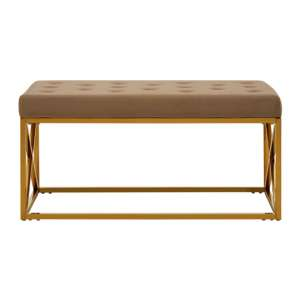 Alluras Mink Velvet Gold Finish Bench With Metal Base
