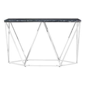 Allure Rectangular Console Table With Black Marble Top