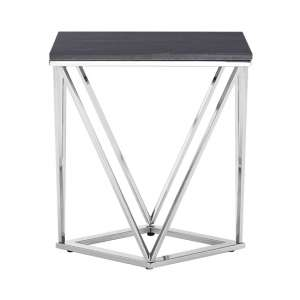 Alluras Rectangular End Table With Black Marble Top