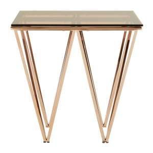 Alluras Square End Table In Champagne With Triangular Base