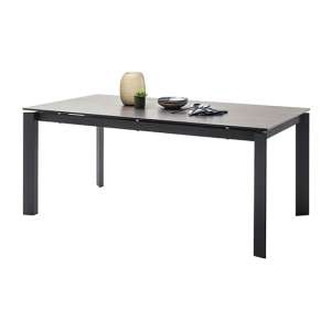 Almaraz Extendable Dining Table In Grey With Black Legs