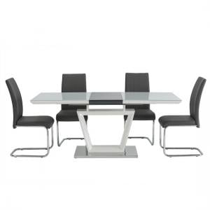 Almera 6 Seater Glass Dining Set In White And Dark Grey Gloss