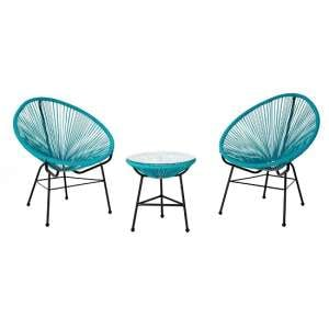 Alongi Rattan Effect Bistro Table And Chairs Set In Cyan Finish