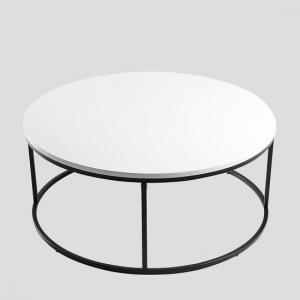 Alpen Coffee Table Round In White High Gloss Black Metal Frame