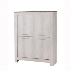 Alpina Modern Bar Unit In White Oak With Distressed Effect Top