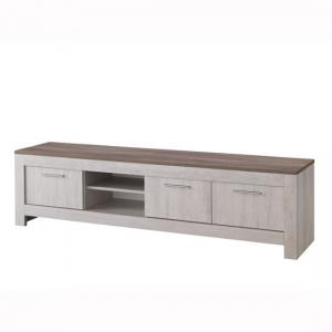 Alpina Large TV Stand In Oak With Distressed Effect Top