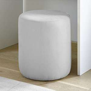 Altair Faux Leather Pouffe In Matt White