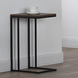 Altino Wooden Side Table In Walnut With Metal Frame_1