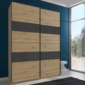 Altona Sliding Door Wooden Wardrobe In Artisan Oak And Grey