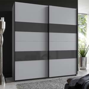 Altona Sliding Door Wardrobe In Graphite And Light Grey