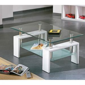 Alva Glass Coffee Table With Undershelf And White Legs