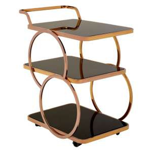 Alvara Glass Bar Trolley In Rose Gold
