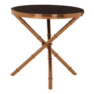 Alvara Tempered Glass Top Side Table With Bamboo Inspired Base