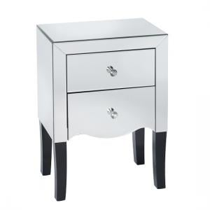 Alvaro Mirrored Bedside Cabinet With 2 Drawers