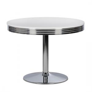 Altona Bistro Dining Table Round In White With Metal Frame