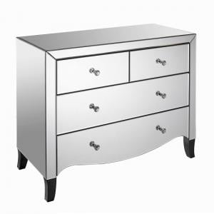 Alvaro Mirrored Wide Chest of Drawers With 5 Drawers