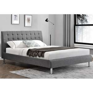 Alyssa Fabric Double Bed In Charcoal With Chrome Legs