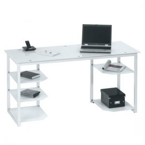 Alyssa Glass Computer Desk In White With Metal Frame