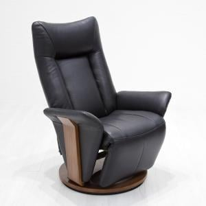 Amalia Relaxing Chair In Black Leather And Walnut Base