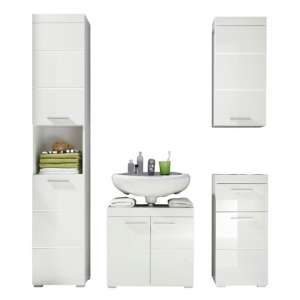 Amanda Bathroom Furniture Set In White Gloss Without Mirror