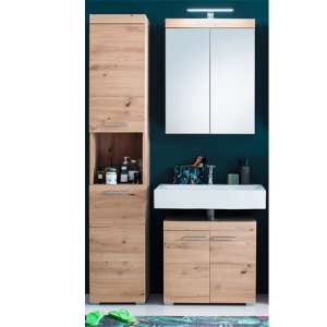 Amanda Bathroom Vanity And Storage With LED Mirror In Knotty Oak