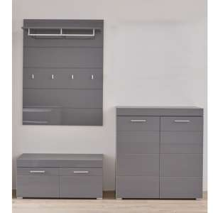 Amanda Coat Rack And Bench With Shoe Cabinet In Grey High Gloss