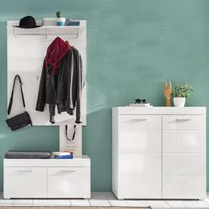 Amanda Coat Rack And Bench With Shoe Cabinet In White High Gloss