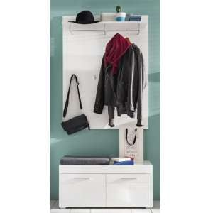 Amanda Coat Rack And Shoe Bench In White High Gloss