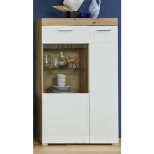 Amanda LED Display Cabinet In White HG And Knotty Oak