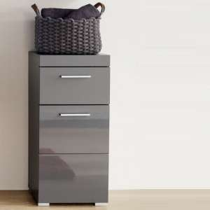 Amanda Bathroom Storage Cabinet In Grey And High Gloss Fronts