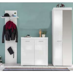 Amanda Hallway Furniture Set In White Gloss Without Mirror