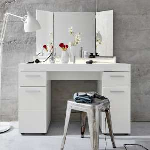 Amanda LED Dressing Table In White High Gloss With Mirror