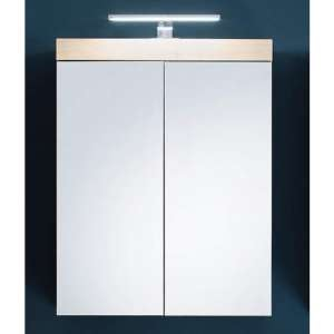 Amanda LED Mirrored Bathroom Cabinet In Silver Frame