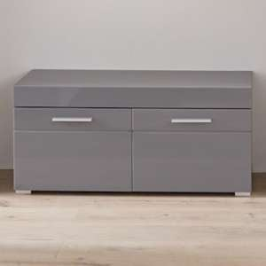 Amanda Shoe Storage Bench In Grey High Gloss