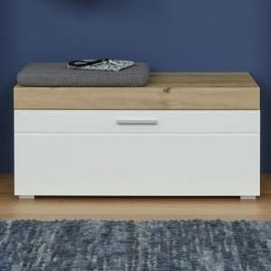 Amanda Shoe Storage Bench In White High Gloss And Knotty Oak