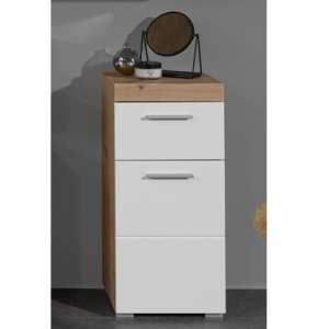 Amanda Small Storage Cabinet In White Gloss And Knotty Oak