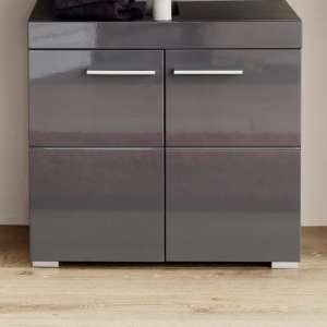 Amanda Vanity Cabinet In Grey With High Gloss Fronts