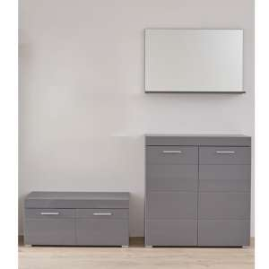 Amanda Wall Mirror And Bench With Shoe Cabinet In Grey Gloss