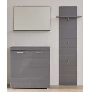Amanda Wall Mirror And Shoe Cabinet With Coat Rack In Grey Gloss