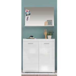 Amanda Wall Mirror And Shoe Cabinet In White High Gloss