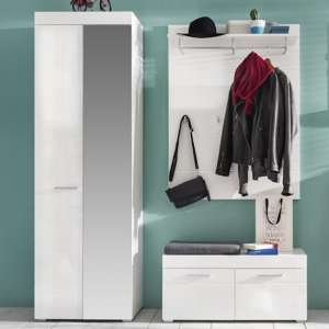 Amanda Wardrobe And Coat Rack With Bench In White High Gloss