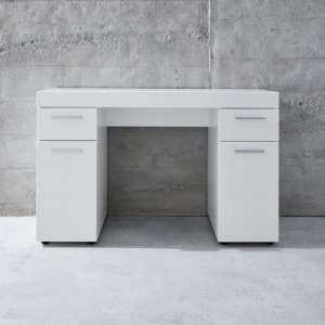 Amanda Wooden Dressing Table In White High Gloss