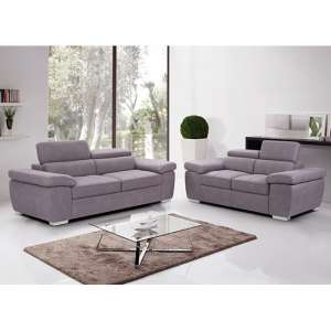 Amando Fabric 2 Seater And 3 Seater Sofa Suite In Mushroom