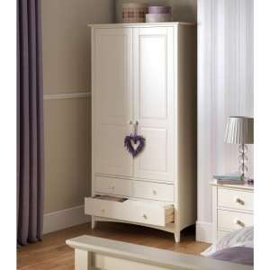 Amani Combi Wardrobe In White With  2 Doors 3 Drawers