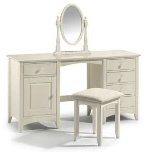 Amani Twin Pedestal Dressing Table In Stone White
