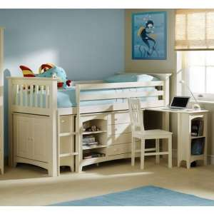 Amani Sleep Station In Stone White With Left Hand Ladder